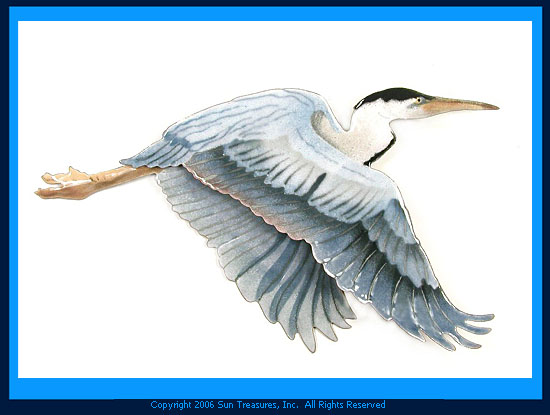 Flying Heron Large W3000 Bovano of Cheshire Metal Wall Sculpture