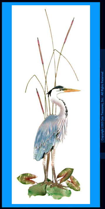 Majestic Great Blue Heron W313R Metal Wall Art Bovano of Cheshire