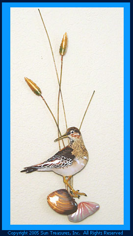 Sandpiper with Shells-Vertical. W324 Bovano Metal Wall Art