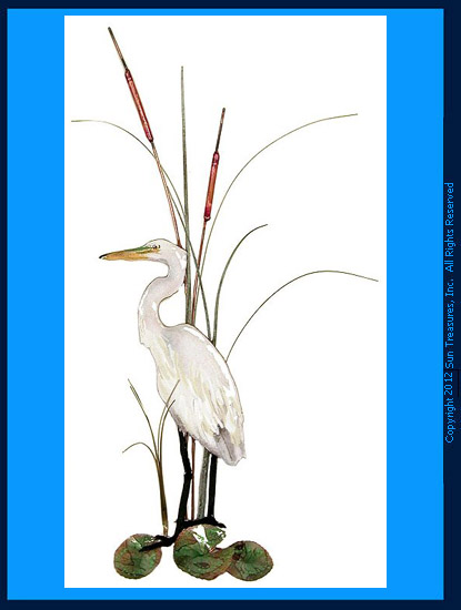 Small White Egret with Cattails W362 Bovano of Cheshire Wall Art
