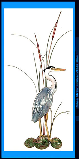 Small Great Blue Heron with Cattails Facing Right W363R Sculpture by Bovano