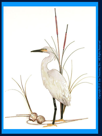 Snowy Egret with Shells W368 Bovano of Cheshire Wall Sculpture