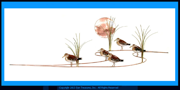Sandpipers with Grasses W371 Bovano Wall Sculpture