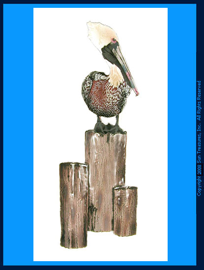 Pelican Brown On Pilings W428B Bovano Wall Sculpture