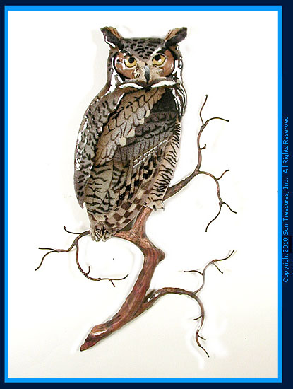 Great Horned Owl on Branch W8091 Metal Wall Art Bovano
