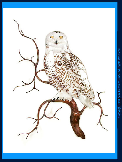 Snowy Owl on Branch W8092 Bovano Wall Sculpture
