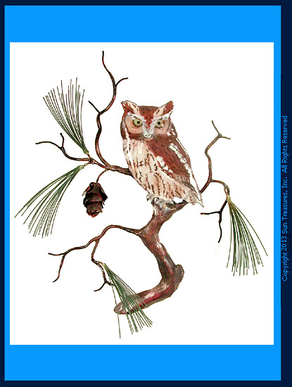 Screech Owl with Pine W8094 Wall Art Sculpture by Bovano