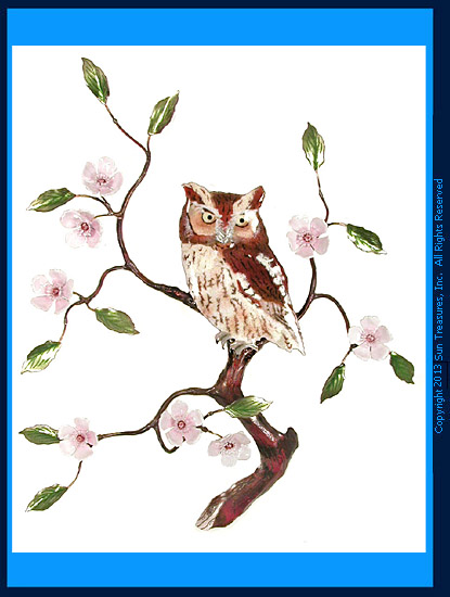Screech Owl with Cherry Blossom W8095 Bovano of Cheshire