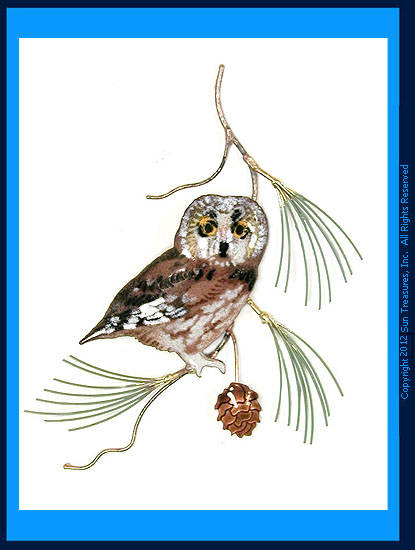Saw Whet Owl On Pine Branch W823 Bovano Wall Sculpture