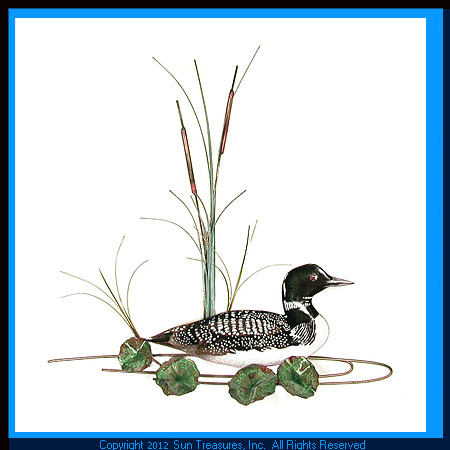 Loon with Lily Pads and Cattails W896 Bovano of Cheshire