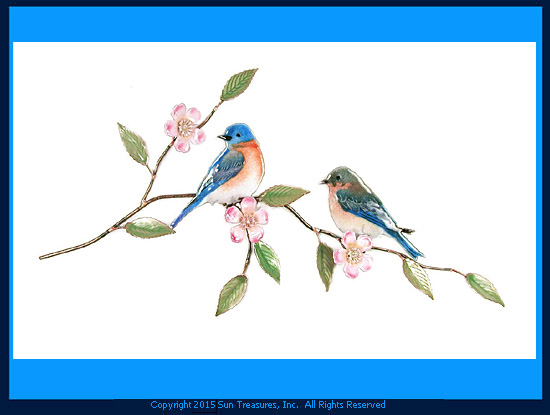 Bluebird Pair with Prairie Rose W4134 Bovano Wall Sculpture