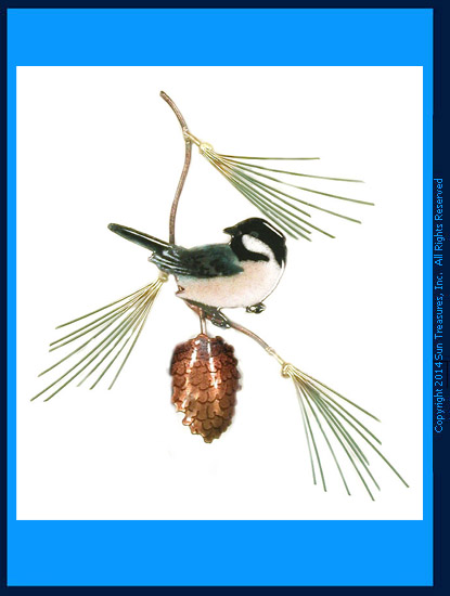 Chickadee with Pine Bough  W414 Bovano Metal Wall Sculpture
