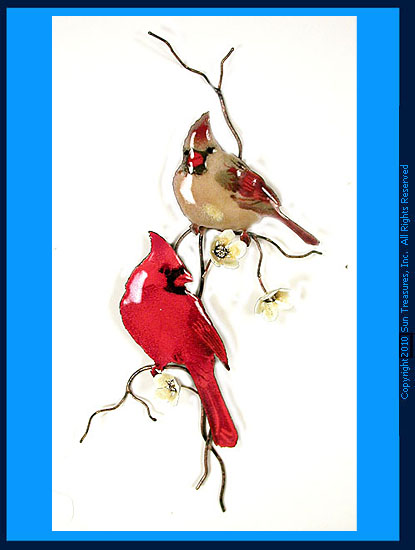 Cardinals on Yellow Flower Branch W4431 Bovano Wall Art