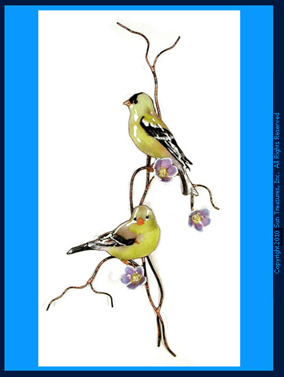 Two Goldfinch on Purple Flower Branch W4433 Bovano Sculpture