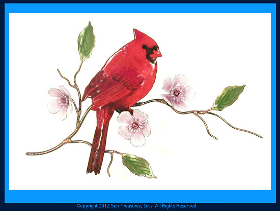 Cardinal on Cherry Blossom W4450 Metal Wall Sculpture by Bovano