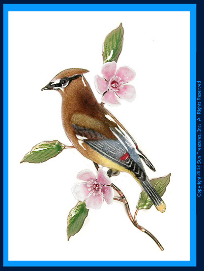 Cedar Wax Wing with Cherry Blossom W4451 Bovano Wall Art