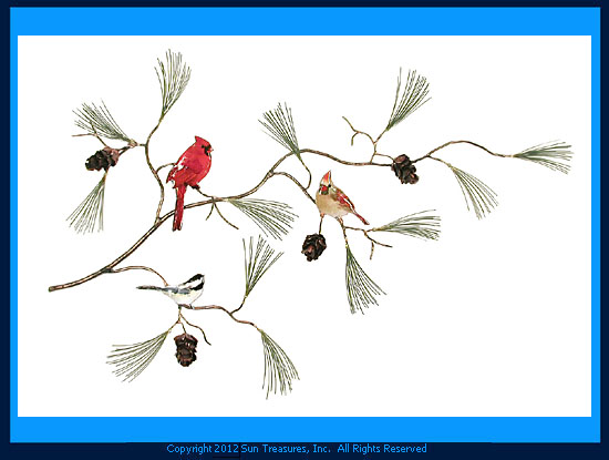 Cardinals and Chickadees on Pine Branch W448 Bovano Sculpture