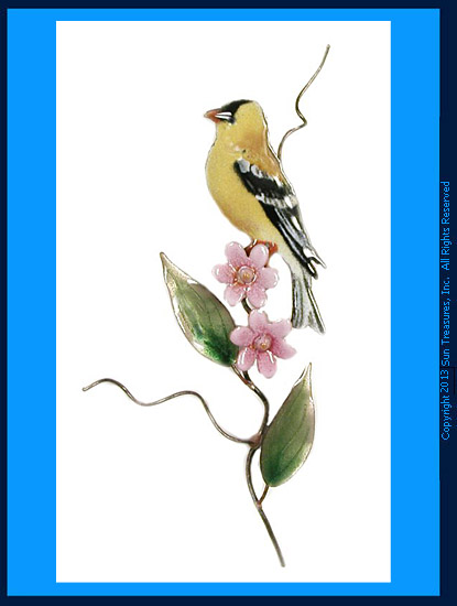 Goldfinch with Pink Aster W464 Wall Sculpture by Bovano of Cheshire