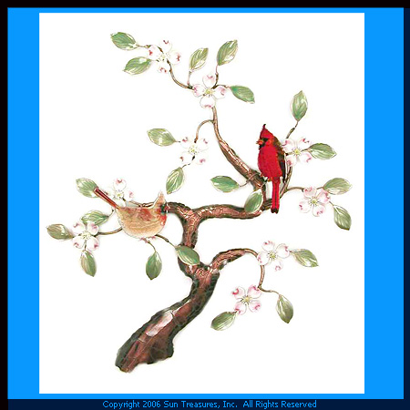 Cardinals in a Tree W465 Bovano Metal Wall Art