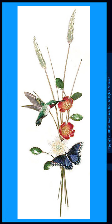 Hummingbird, Butterfly, Vertical Wall Sculpture, W4713 Bovano
