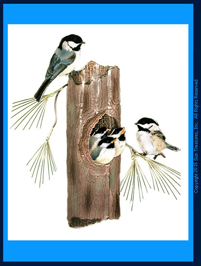 Chickadees Nesting W521 Wall Sculpture Bovano of Cheshire