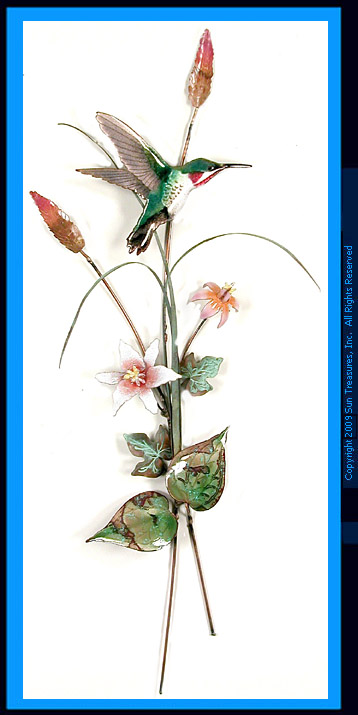 Hummingbird with Pink Lilies W7625 Bovano Metal Wall Art