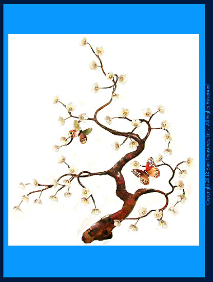 White Flowering Tree with Two Butterflies Wall Sculpture by Bovano of Cheshire