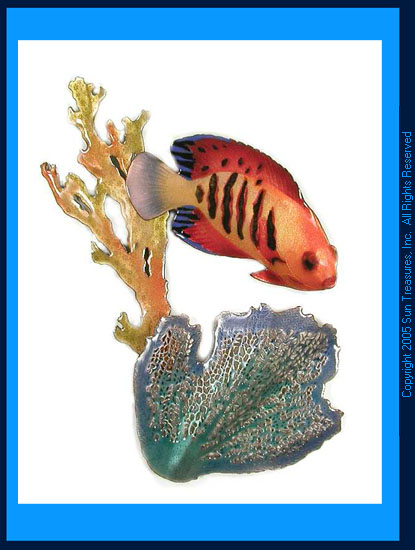 Flame Angelfish with Branching Coral W1601 Bovano Wall Sculpture