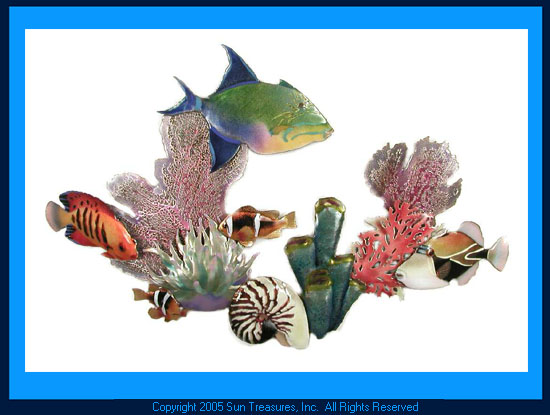Queen Triggerfish Reef Scene W1623 Wall Art Bovano of Cheshire