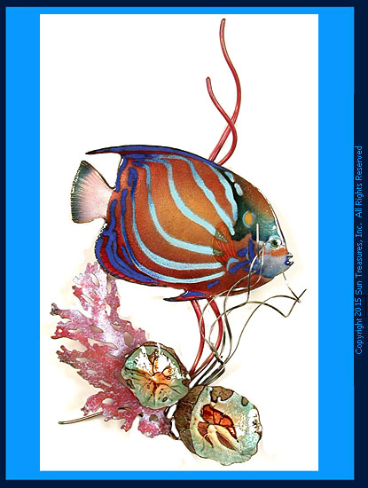 Blue Ring Angelfish in Coral W1665 Wall Sculpture Bovano