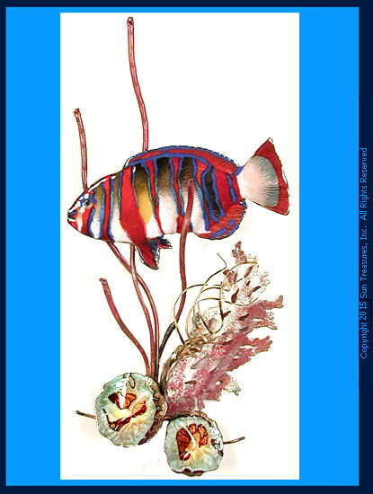 Harlequin Tusk Fish in Coral W1668 Bovano Wall Sculpture