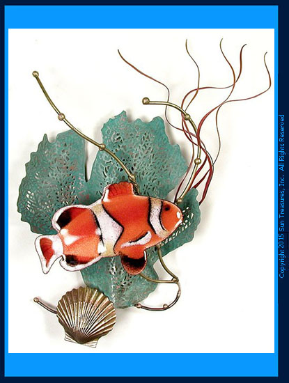 Anemone Fish with Sea Fan W1949 Metal Wall Sculpture