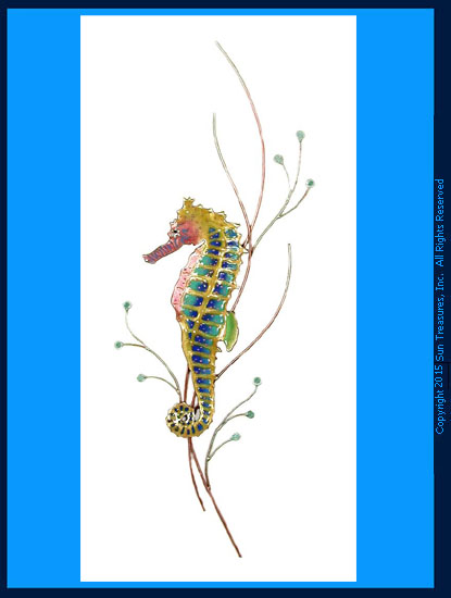 Rainbow Seahorse Facing Left W1923L Bovano Wall Art