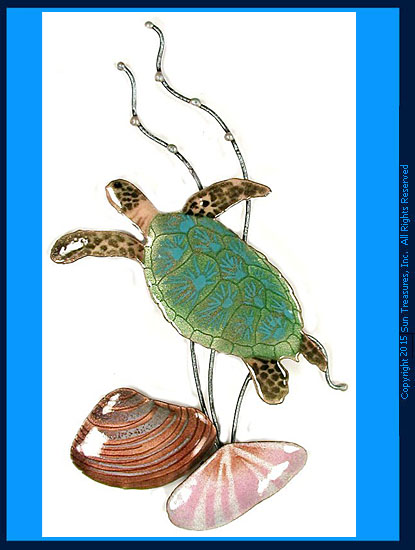 Mini Sea Turtle with Two Shells W623 Bovano Wall Sculpture