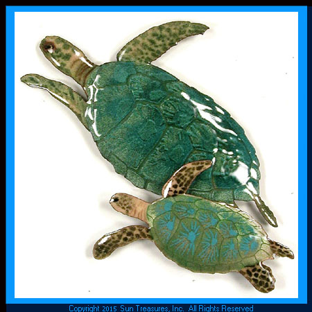 Two Sea Turtles W624 Metal Wall Art Bovano of Cheshire