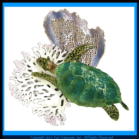 Sea Turtle with Blue Coral. W625BLUE Bovano Metal Wall Art