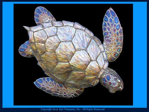 Gary Caldwell Large Sea Turtle Metal Wall Art Sculpture